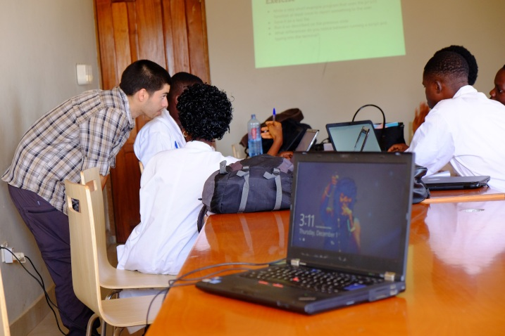 Daniel helps some students through installation issues