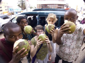Drinking from some well-deserved coconuts.
